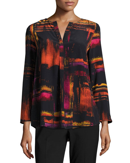 Lafayette 148 New York Samantha 3/4-Sleeve Abstract-Print Silk
