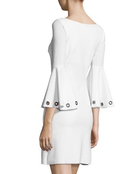 Bell-Sleeve Ponte A-Line Dress