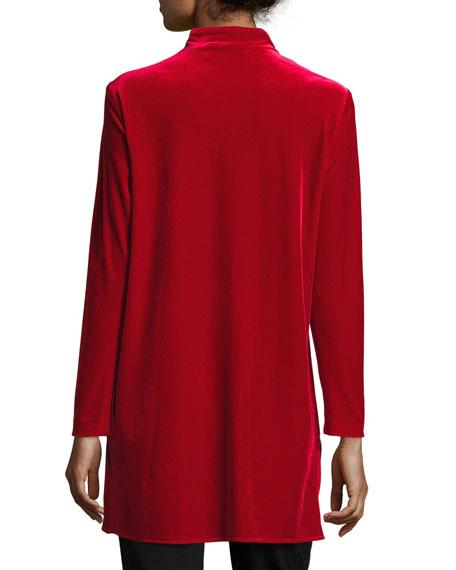 Mandarin-Collar Velvet Shirt, Petite
