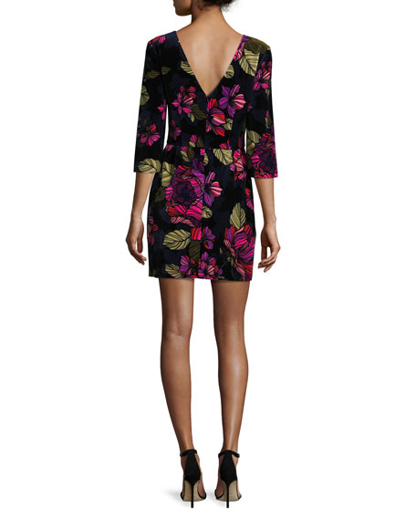 3/4-Sleeve Floral Cocktail Dress, Multicolor