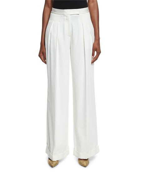 DKNY Pleated Wide-Leg Crepe Pants, Gesso