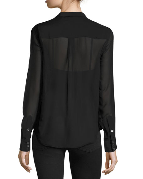 Equipment Leema Tie Neck Blouse Black