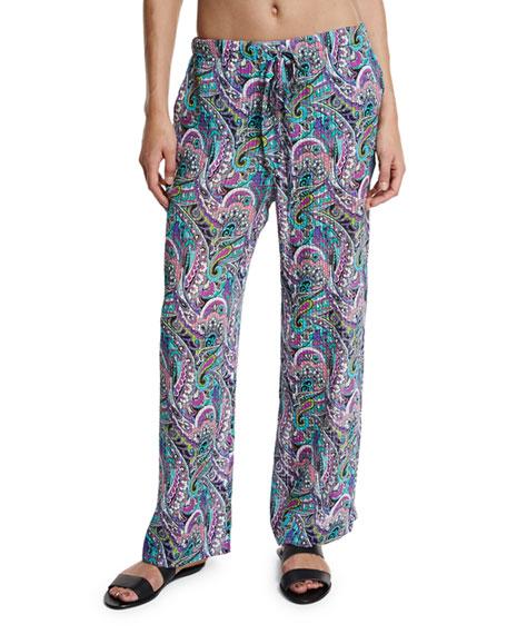 Paisley Silk Beach Coverup Pants, Multicolor