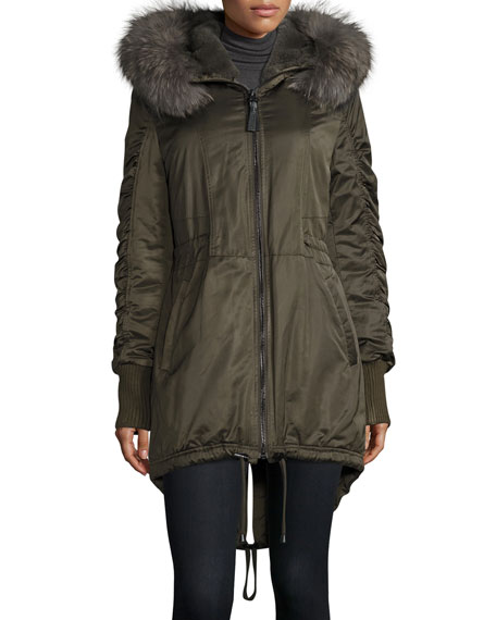 Derek Lam 10 Crosby Fur-Trimmed Hooded High-Low Hem