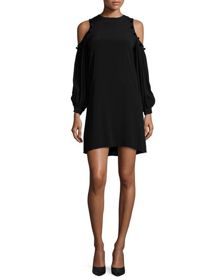 Alexis Claudette Crepe Button-Trim Cold-Shoulder Dress