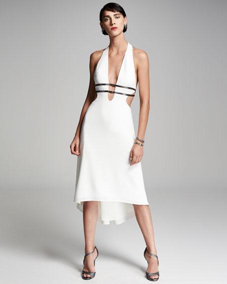 Metallic-Trim Stretch Crepe Halter Dress, Chalk/Gunmetal
