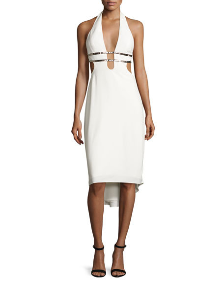 Halston Heritage Metallic-Trim Stretch Crepe Halter Dress,
