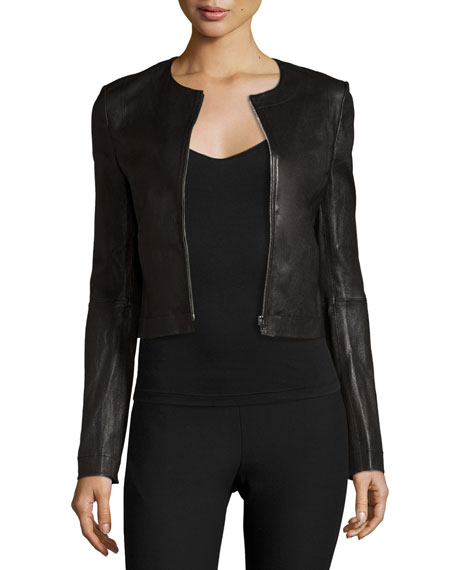 Helen Fitted Cropped Leather Jacket, Black