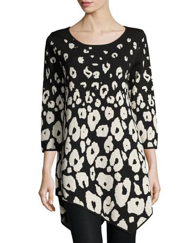 Three-Quarter-Sleeve Envelope-Hem Leopard Pullover, Black/Gold Lurex? Cheap