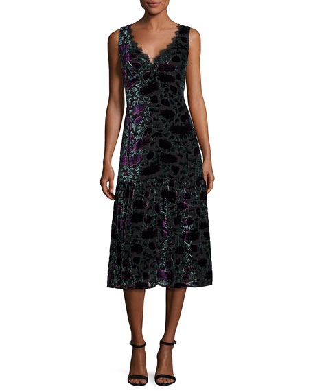 Nanette Lepore Sleeveless Floral Velour Midi Dress, Eggplant