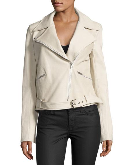 A.L.C. Duvall Leather Moto Jacket, Stucco