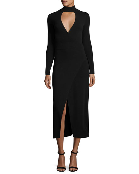 A.L.C. Rojo Long-Sleeve Ponte Midi Dress, Black