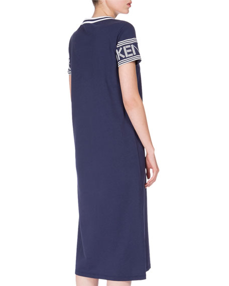 Logo-Sleeve Jersey Midi Dress, Midnight Blue