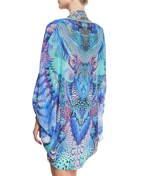 Open-Front Embellished Silk Cardigan/Cape Coverup, One Size