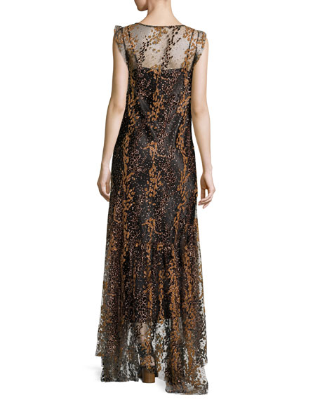 Sleeveless Enamel Glitter Maxi Dress, Copper