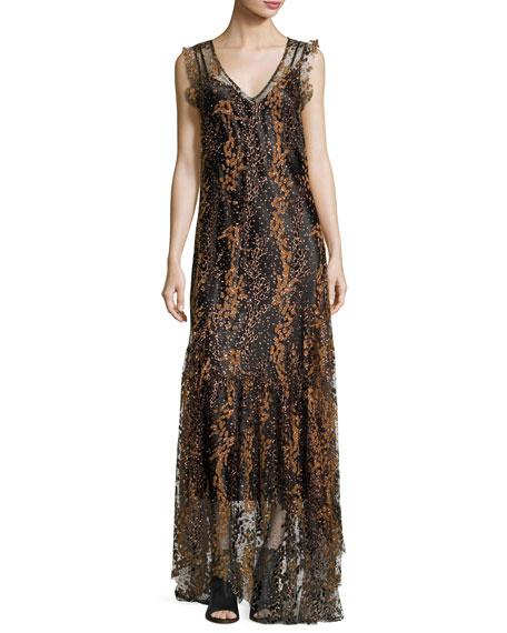 Sleeveless Enamel Glitter Maxi Dress, Copper