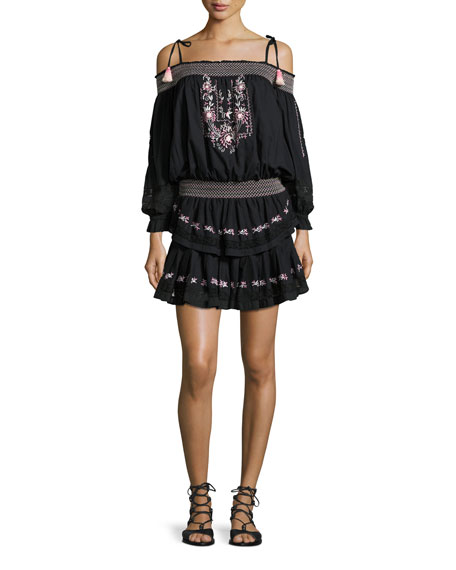 Loveshackfancy Cold-Shoulder Embroidered Ruffle Mini Dress, Black