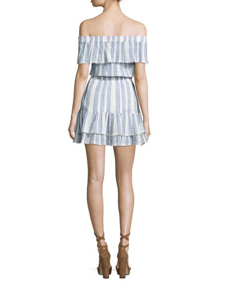 Elizabeth Striped Off-the-Shoulder Mini Dress, Blue/White