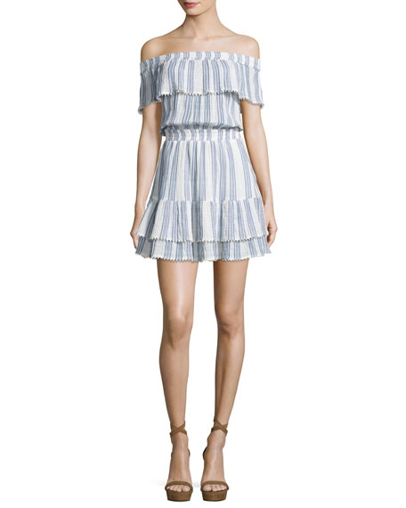 Loveshackfancy Elizabeth Striped Off-the-Shoulder Mini Dress,
