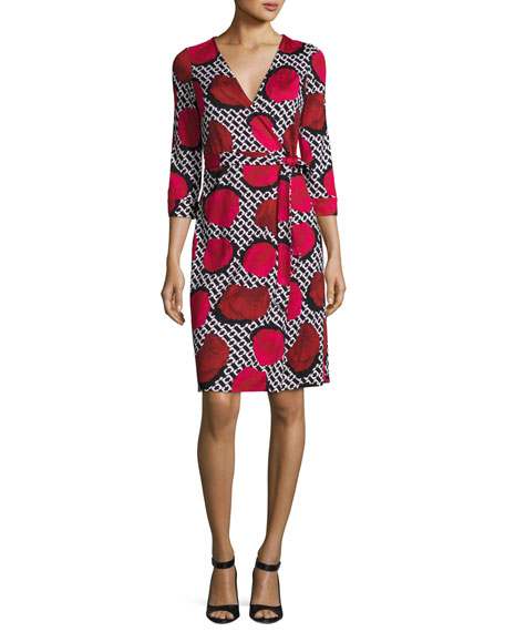 New Julian Two Jersey Wrap Dress, Poppy Chain Rose
