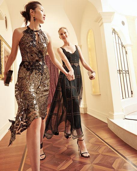 Kobi Halperin Sleeveless Studded Macramé & Chiffon Column Gown