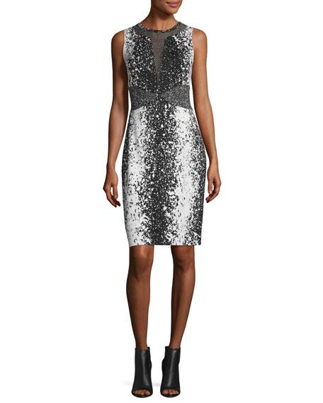 Ilsie Mesh-Panel Sheath Dress