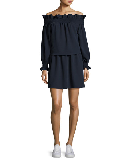 Diane von Furstenberg Georgie Off-the-Shoulder Popover Mini Dress