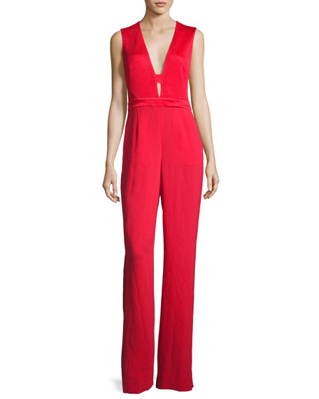 Kyara Plunge-Neck Tuxedo Jumpsuit, Scandal Red