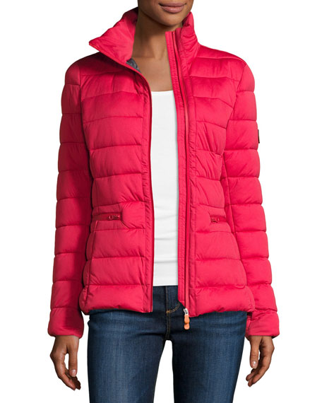 Asymmetric-Zip Puffer Jacket, Tango Red