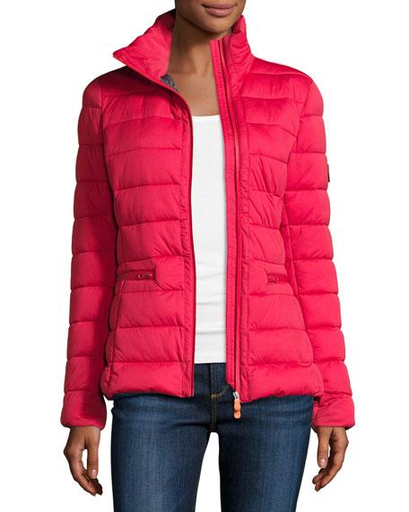 Asymmetric-Zip Puffer Jacket, Tango Red