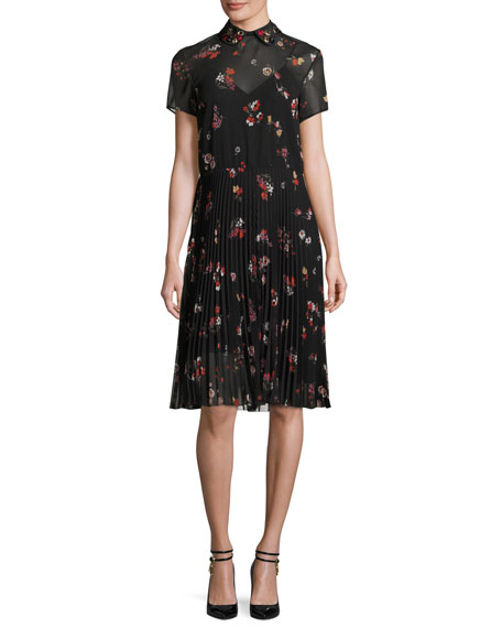 REDValentino Short-Sleeve Pleated Floral-Print A-Line Dress, Nero