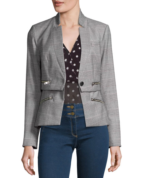 Paloma Plaid Zipper Jacket, Black/White/Red