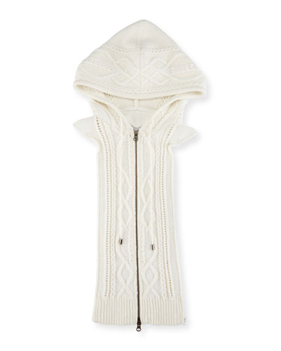 Cable-Knit Hoodie Dickey, Cream