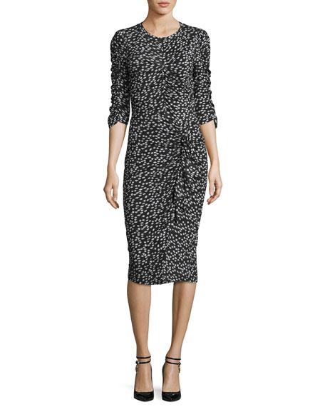 Rebecca Taylor Floral Fizz Ruched Midi Dress, Black