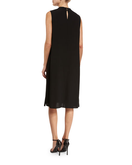 Silk High-Neck Knee-Length Dress