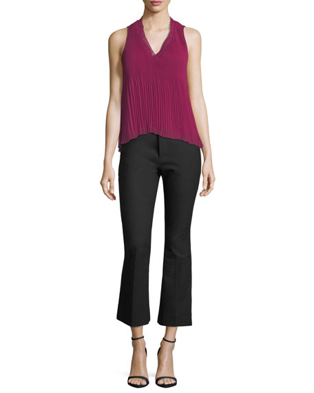 Image 3 of 3: Derek Lam 10 Crosby Stretch-Cotton Cropped Flare Trousers