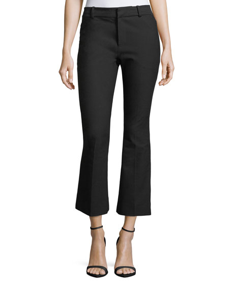 Image 1 of 3: Derek Lam 10 Crosby Stretch-Cotton Cropped Flare Trousers