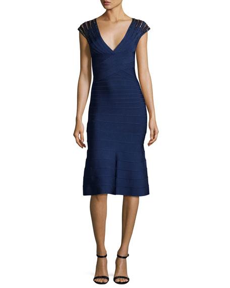 Herve Leger Cap-Sleeve Flounce Bandage Dress, Classic Blue/Combo
