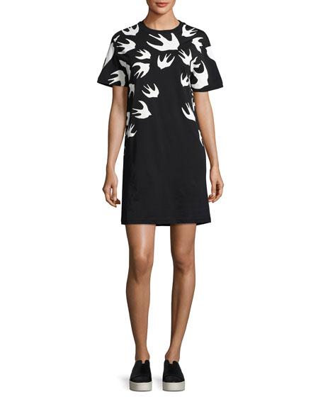 McQ Alexander McQueen Short-Sleeve Jersey Swallow-Print T-Shirt