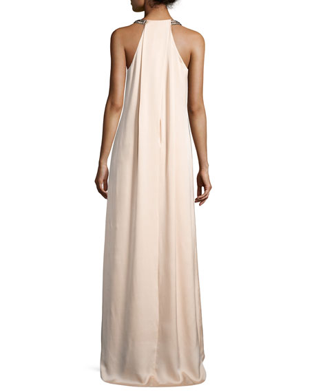 Kobi Halperin Beaded Halter Maxi Dress