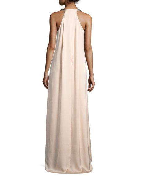 Beaded Halter Maxi Dress