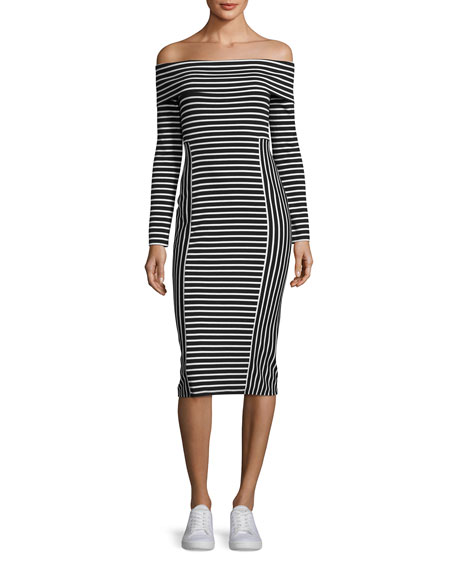 Derek Lam 10 Crosby Striped Off-the-Shoulder Midi Dress,