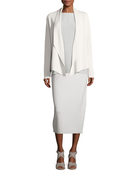 Shawl-Collar Draped Knit Jacket, Petite