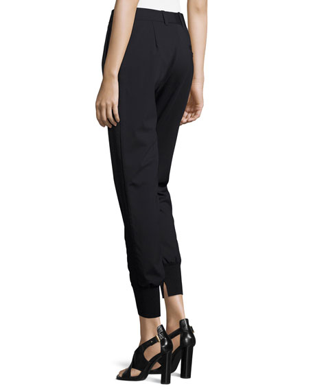 Image 2 of 3: 3.1 Phillip Lim Lightweight Stretch Wool Track Pants, Black