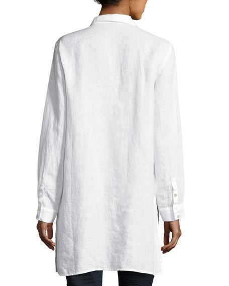 Long-Sleeve Collared Henley Linen Tunic