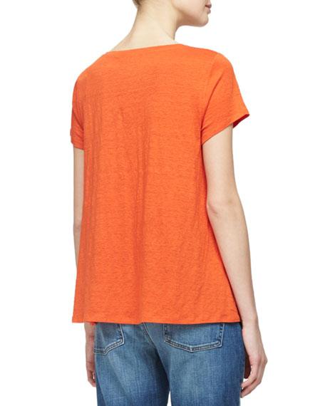 Short-Sleeve Organic Linen Jersey Tee, Plus Size