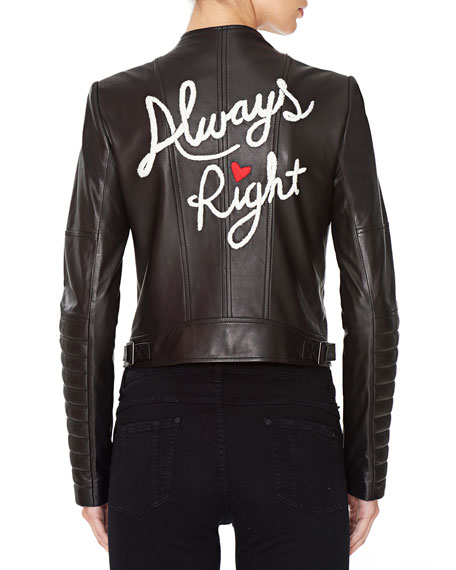 Gamma Always Right Embroidered Leather Biker Jacket