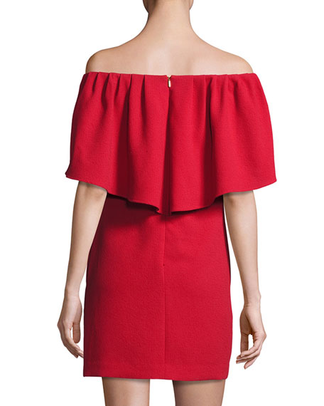 Zeal Crepe Off-the-Shoulder Mini Dress
