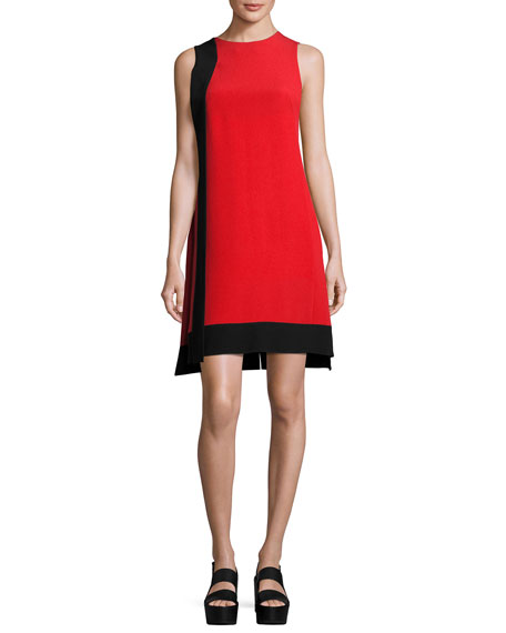 Akris Contrast-Sash Sleeveless Shift Dress, Rojo/Black