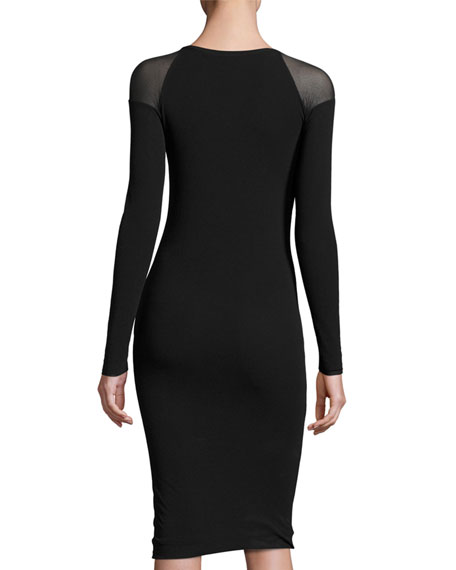Illusion Long-Sleeve Tulle Sheath Dress, Black